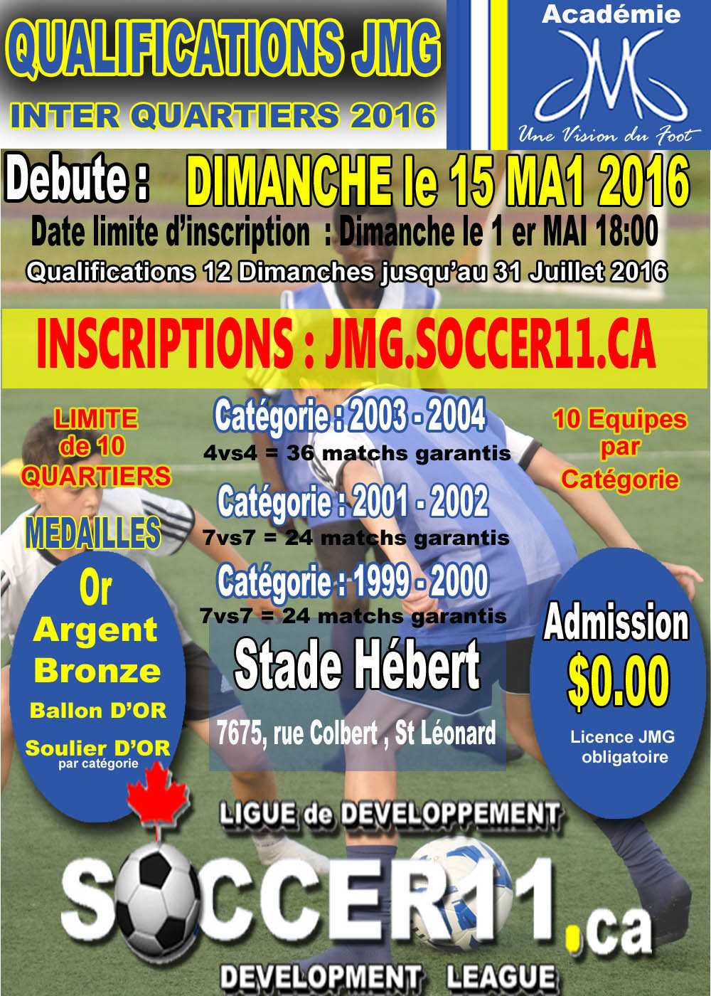 Inscriptions pour les Qualifications JMG 2016